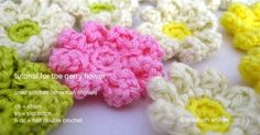 the gerry flower by elisabeth andrée - free crochet pattern- maybe sew into an afghan? Love Crochet, Crochet Motif, Crochet Yarn, Crochet Stitches, Crochet Appliques, Crochet Headbands, Crochet Crafts, Yarn Crafts, Crochet Projects
