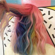 how mermaid hair color became a hit Dye My Hair, New Hair, Hidden Rainbow Hair, Pelo Multicolor, Coloured Hair, Grunge Hair, Mermaid Hair, Crazy Hair, Pretty Hairstyles
