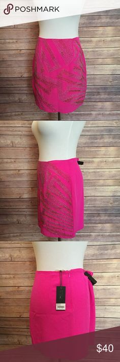 NWT heather beaded hot pink mini skirt Gorgeous electric pink silk heather beaded mini skirt perfect for a night out! heather Skirts Mini
