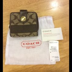 Authentic Coach Wallet Authentic Coach Wallet. Brown with gold tone hardware. Dimensions: approximately 4in x 4.25in and extends when opened to 4.25in x 8in. Eight slots for credit cards, one long pouch for dollar currency, and one zipper pouch with a divider for coins. Gently used condition, with no rips or stains. Comes from a smoke free home. Tags included. Coach Bags
