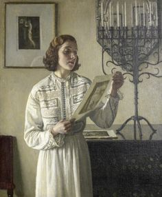 The Print (exh.1933). Harold Knight (British, 1874-1961). Oil on canvas.  The sitter is most likely the artist's wife, Dame Laura Knight, depicted holding one of her own prints.