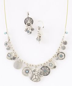 Look at this Silver & Blue Floral Coin Necklace & Drop Earrings on #zulily today!