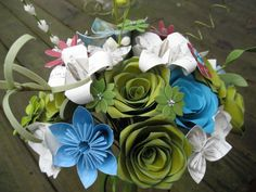 Custom Paper Flower Wedding Bouquets You Pick The by TreeTownPaper, $75.00