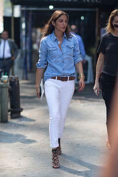 White skinny pants, heeled sandals, ocbd, belt texture: denim and leather colors: white, pale blue, dark tan