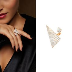 Sharp-edged asymmetrically wrapped gold and diamond triangles, as bold and powerful as Iris's wings