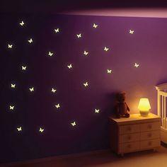 Glow in the Dark Butterfly Wall Stickers - butterfly wall decor
