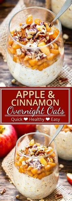 Apple Cinnamon Overnight Oats will make you want to roll outta' bed! This healthy breakfast recipe is made with fresh apples, gluten-free oats, and almond milk, is refined sugar-free and vegan, and tastes like you're eating apple pie. Quick Healthy Breakfast, Best Breakfast, Ideas For Breakfast, Apple Breakfast, Breakfast Smoothies, Oats Recipes, Apple Recipes, Pumpkin Recipes, Healthy Recipes