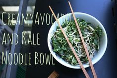 Creamy Avocado And Kale Noodle Bowl {Recipe} - So Fawned Healthy Pasta Dishes, Healthy Pastas, Eat Healthy, Vegan Food, Vegan Vegetarian, Vegetarian Recipes, Paleo, Vegan Dinner Recipes, Yummy Recipes