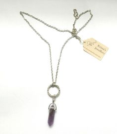 Long Purple Amethyst Necklace with a Silver Ring by KristasJewellery on Etsy