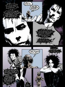 Okay, is it just me, or does Sandman in the top left panel look EXACTLY like Peter Murphy? Not just me, right?