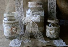 VINTAGE Lace Wedding JARs, Burlap Wedding Centerpieces, Rustic Farm House, Shabby Chic, Country Wedding