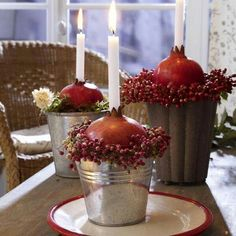 Pomegranate and candles - Decor table ----