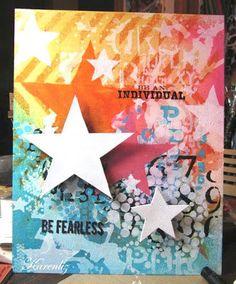 "By Karenliz -- using the Balzer Designs ""Herringbone"" stencil"