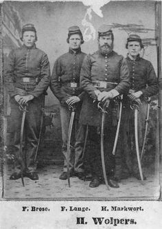 Civil War - Four soldiers from Co. K., Mo. Militia. Left to right: F. Brase, F. Lange, H. Wolpers and H. Markwort. (Jackson Heritage Association photo)