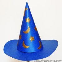 wizards-  assorted construction paper for hat.  pre-cut the hat forms.  one sheet of foil/paper stars for them to cut out and attach.  cotton balls . glue . scissors . tape. elastic string