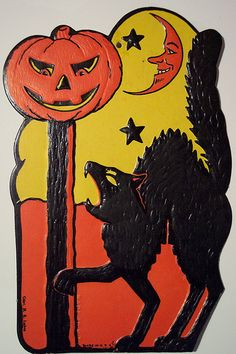 Vintage Halloween Cat and Jack-O-Lantern | Flickr - Photo Sharing!