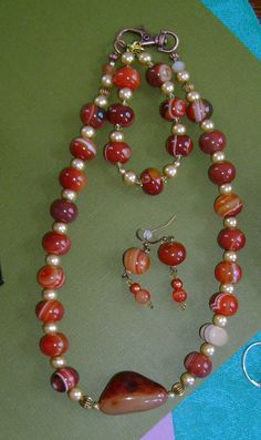 Agates and Gold Red Rust FALL Colors Burnt by MyGrandmasHome