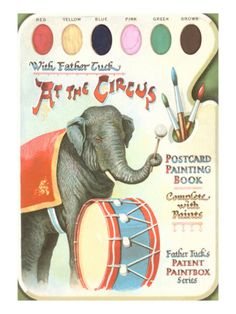 Elephant Beating Drum, Circus Painting Book Giclee Print