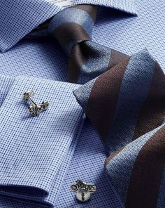 Sky and brown silk block stripe classic tie