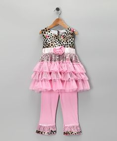 Take a look at this Pink Leopard Rose Tutu Tunic & Pants - Infant, Toddler & Girls by AnnLoren on #zulily today!