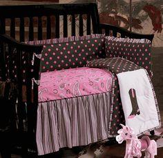 Baby Pink Paisley Western Crib Set - 4 pcs
