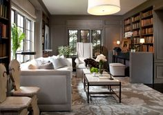 Beautiful library. Deep, grey walls set the tone for a relaxing atmosphere.