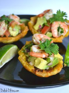 fried plantain cups with shrimp and avocado salad are an awesome Latin hand-held appetizer or dinner option that will truly impress your guests! Haitian Food Recipes, Cuban Recipes, Seafood Recipes, Cooking Recipes, Avocado Dessert, Avocado Salad Recipes, Comida Latina, Avocado Salat, Shrimp Avocado