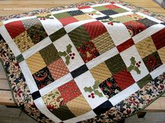 Christmas Wall Quilt Christmas Lap Quilt Red by twistedsticks,