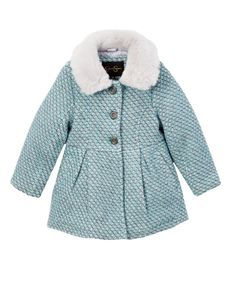 Love this Jessica Simpson Collection Aqua Faux Fur Swing Peacoat - Toddler & Girls by Jessica Simpson Collection on #zulily! #zulilyfinds