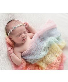Look at this The Tiny Blessings Boutique | Rainbow Mohair Wrap & Rosette Rhinestone Headband - Infant on #zulily today!