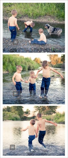 family portraits, brothers playing in the creek (Love this and it would still be cute if there was a sister too - MH)