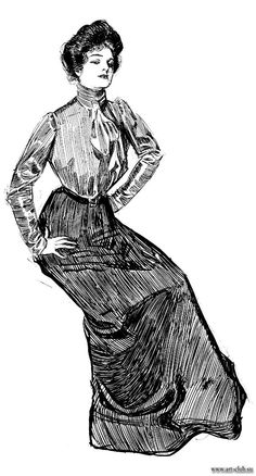 by Charles Dana Gibson Charles Dana Gibson, Evelyn Nesbit, Vintage Outfits, Vintage Fashion, Gibson Girl, Illustrations And Posters, Belle Epoque, Fashion Plates, Fashion History