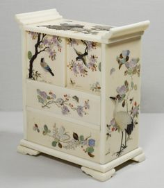 A MINIATURE JAPANESE IVORY AND SHIBAYAMA TABLE CABINET : More At FOSTERGINGER @ Pinterest