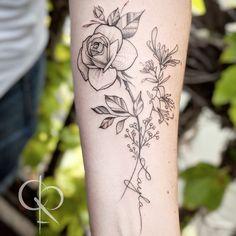Rose and Honeysuckle Form Tattoo, Shape Tattoo, Dot Work Tattoo, Armbeugen Tattoos, Wrist Tattoos, Finger Tattoos, Thigh Tattoos, Tattoos For Women Small, Small Tattoos