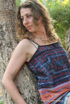 Womens strappy cami top in orange Hmong embroidery and indigo batik. A summer tank to pair with skinny jeans, shorts or skirts. Introducing Zoe