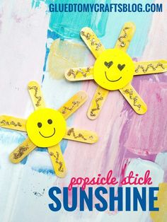 Make some sunshine with your child today! Simply glue popsicle sticks together in a sun shape and have children decorate the front with craft paint, cardstock & glitter glue Popsicle Stick Sunshine - kid craft idea Find tons of kid friendly craft ideas on Glued To My Crafts