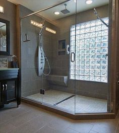 Glass Block Windows In Showers Glass Block Window In Shower Glass Block Window In Shower Stall Diy Bathroom Remodel, Shower Remodel, Bath Remodel, Bathroom Ideas, Rental Bathroom, Bathroom Styling, Bathroom Designs, Restroom Ideas, Bathroom Renovations