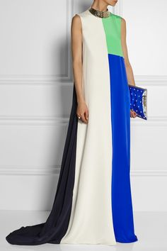 Roksanda Ilincic | Hepworth color-block silk gown | NET-A-PORTER.COM | flowy loose draping dress | floor-length maxi dress with flowing train | navy, cream/white/off-white, cobalt blue and mint green | jeweled metallic silver neckline