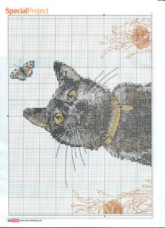 Black cat and butterfly part 1 free cross stitch pattern
