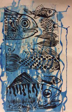 Messy fish print Lino Prints, Textile Prints, Art Prints, Ink Logo, Collage, Scrapbooking, Carousel Horses, Fish Print, Wabi Sabi