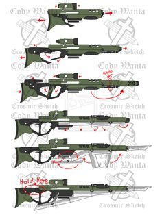RWBY Fan Weapon (Sharp Shooter walkthrough by CrosmirSketch on DeviantArt Anime Weapons, Sci Fi Weapons, Weapon Concept Art, Weapons Guns, Fantasy Weapons, Arsenal, Comic Character, Character Design, Sword Drawing