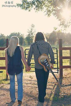 A & G Photography @Ashley Burgess #field #couple #photography #guitar #kiss #love