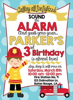 Fire Truck Birthday Party Invitations   Firetruck by SweetHelene, $16.00 Fireman Firefighter Fire