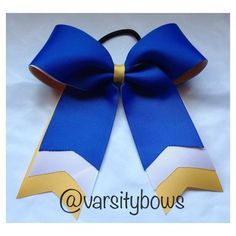 Trio layer Royal Blue White Yellow/Gold Cheer Bow Softball Bow ❤ liked on Polyvore featuring accessories, hair accessories, yellow hair accessories, hair bow accessories, gold hair accessories, royal blue hair accessories and white hair accessories