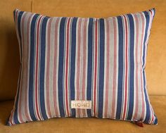 Freshly made midi sized #madebyhowe Swedish pillow in blue red & grey vintage ticking. Available in the showroom now!