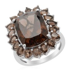 Liquidation Channel: Brazilian Smoky Quartz and Diamond Ring in Platinum Overlay Sterling Silver (Nickel Free)