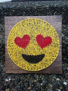 MADE TO ORDER Heart Eyes Emoji String Art by MadeByTheNeedle