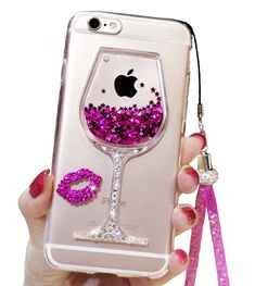 iPhone 6 Plus Liquid Case, 6s Plus Case, Black Lemon Goblet Wine Glass Liquid Quicksand Flowing Floating Bling Glitter Sexy Makeup Case for Girls with Wrist Strap