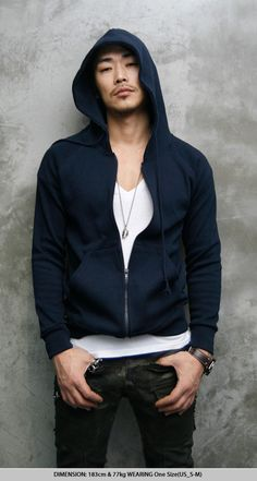 Tops :: Must-have Basic Slim fit Hoodie-Hoodie 05 - Mens Fashion Clothing For An Attractive Guy Look