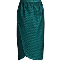 Emilio De La Morena Salma Wrap Front Knee Length Skirt (£305) ❤ liked on Polyvore featuring skirts, blue knee length skirt, knee high skirts, blue skirt, wrap front skirt and emilio de la morena